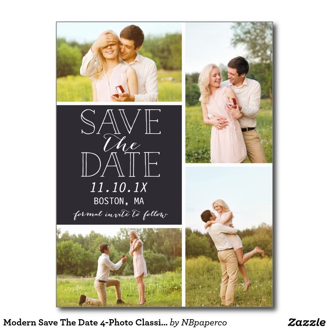 10 Elegant Save The Date Ideas Pinterest modern save the date 4 photo classic collage postcard wedding 2020