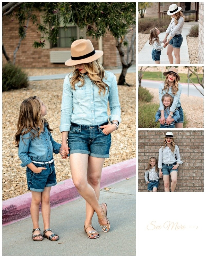 10 Amazing Mommy And Me Picture Ideas mommy and me denim shorts glamour zine 2021