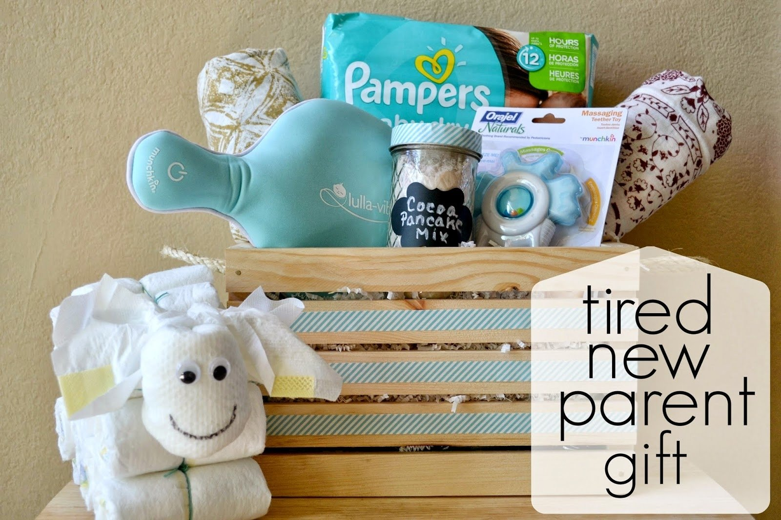 mommy testers: tired new parent gift basket with pampers
