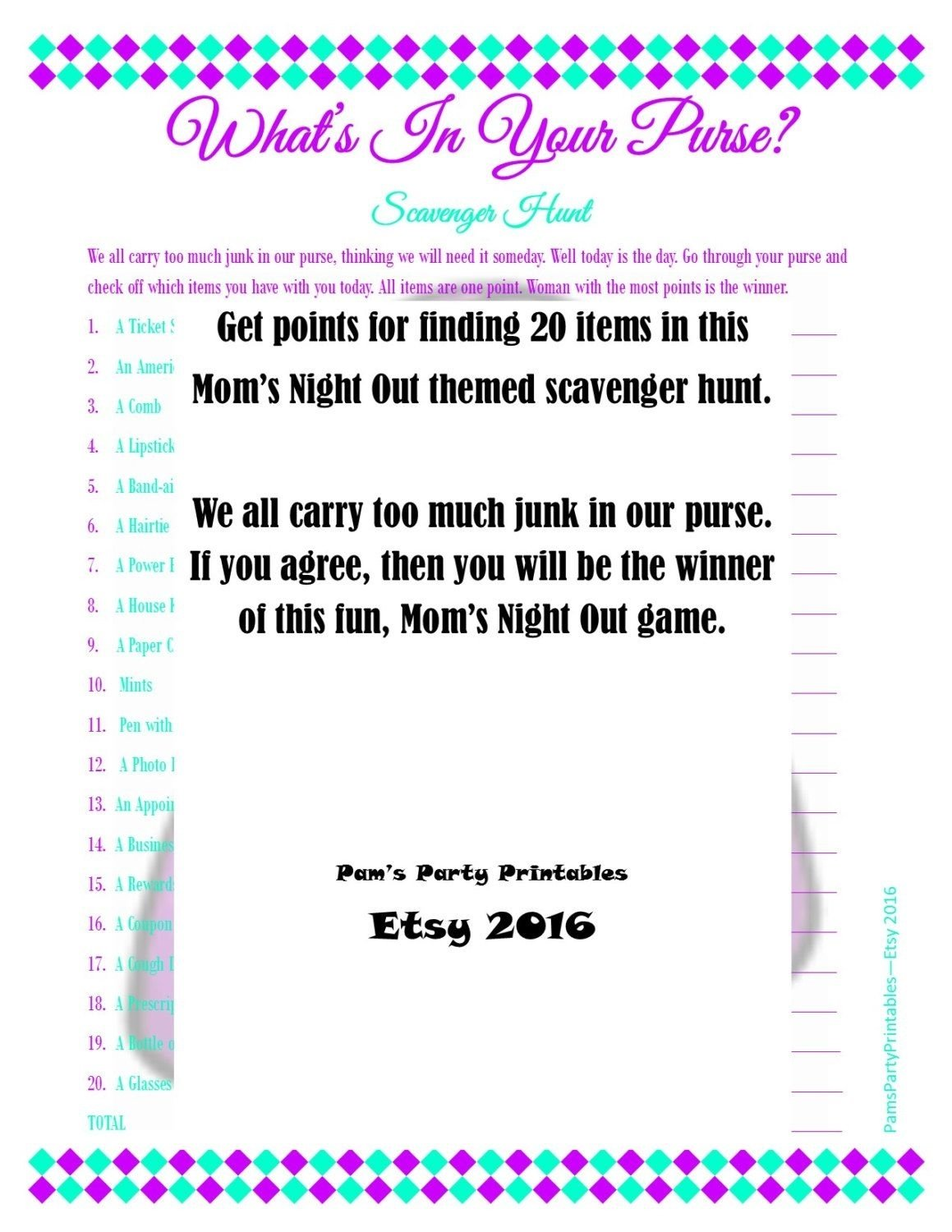 10 Ideal Girls Night Out Scavenger Hunt Ideas moms night game whats in your purse scavenger hunt moms night 2021