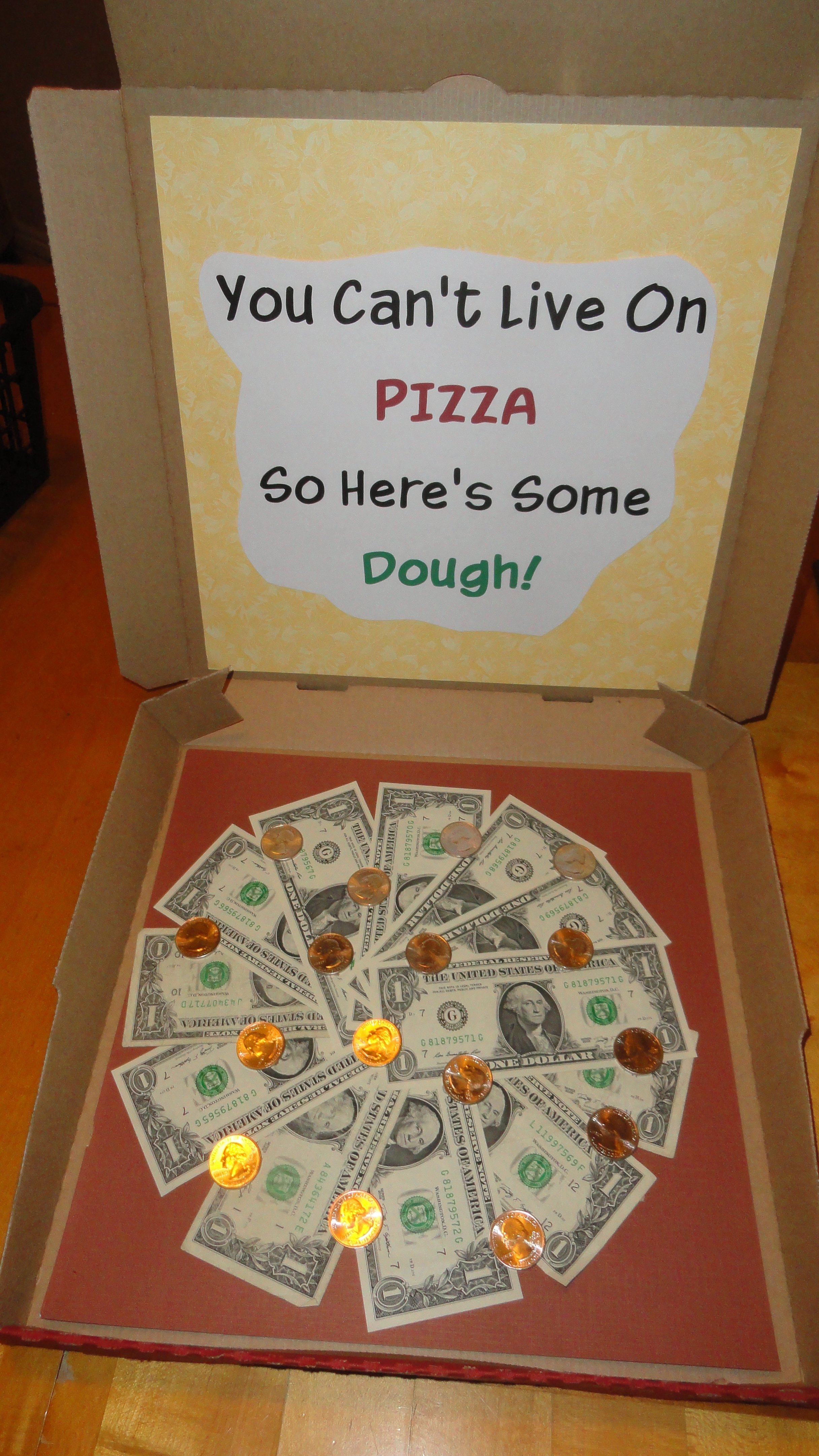 money pizza - white elephant or gift. how cool is it to open a pizza