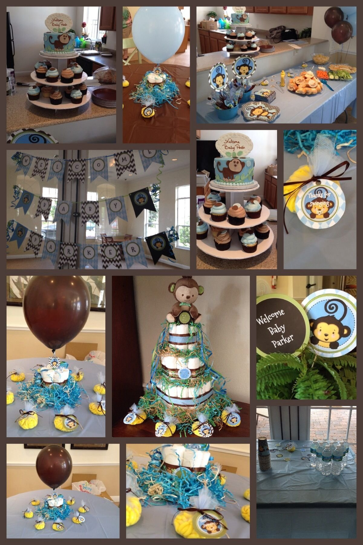 10 Perfect Brown And Blue Baby Shower Decorating Ideas monkey boy baby shower theme blue green brown custom