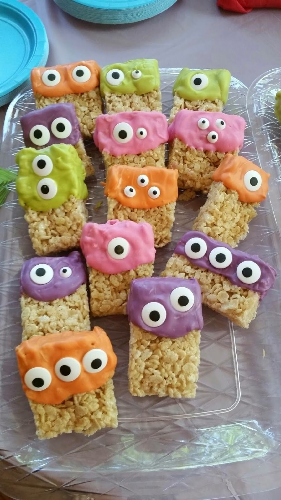 10 Attractive Halloween 1St Birthday Party Ideas monster rice krispies treats a little melting chocolate in 2020