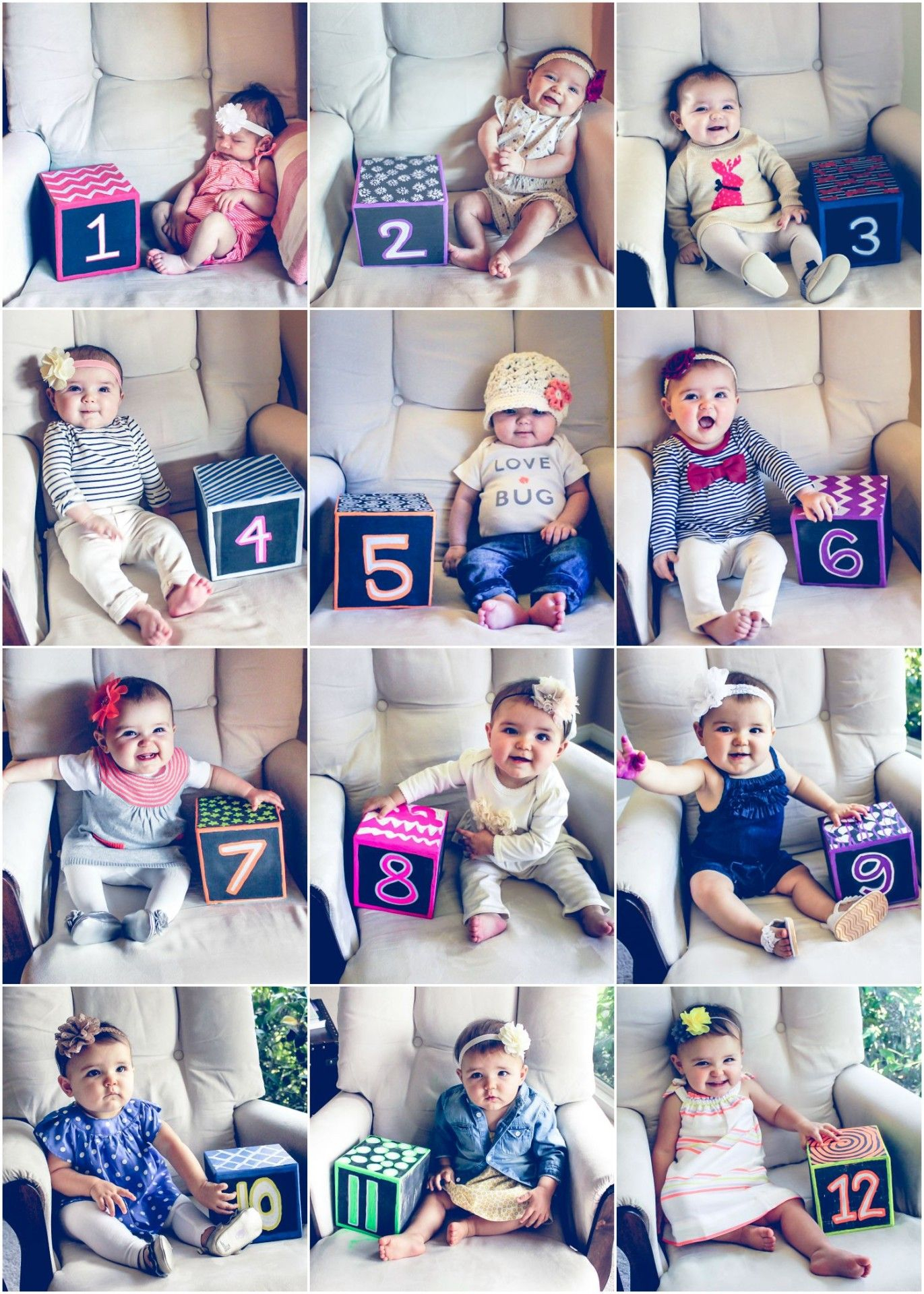 monthly baby photos, 12 months baby progression photos, month to