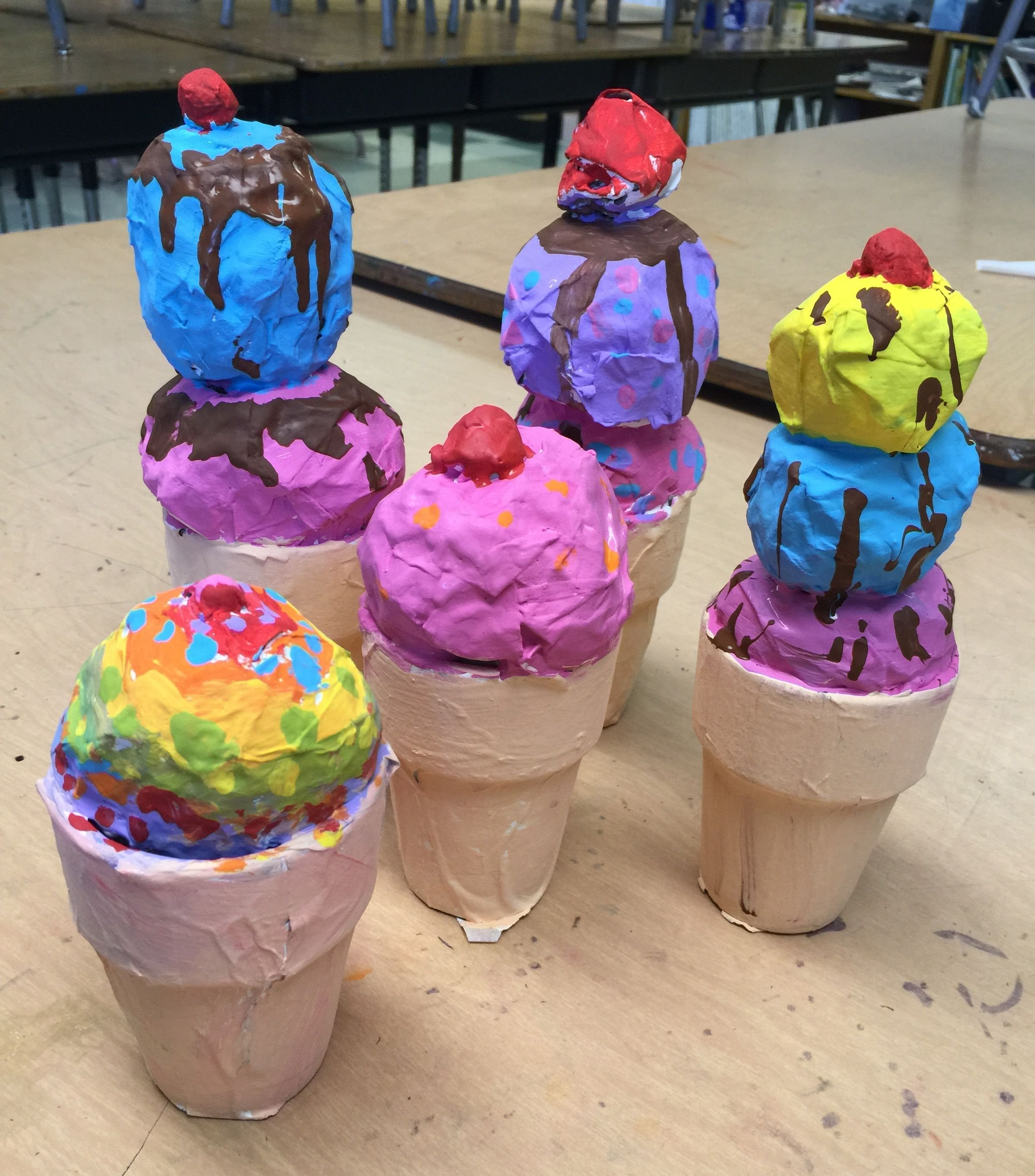 10 Lovable Paper Mache Ideas For Kids more paper mache ice cream cones ice cream cones paper mache and 2021