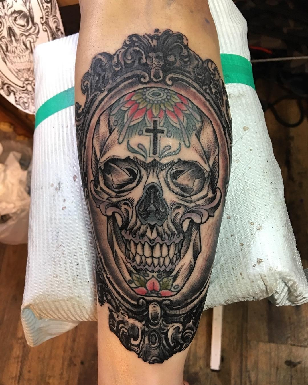 10 Spectacular Skull Tattoo Ideas For Men more traditional mexican tattoo with realistic looking skull on 2021