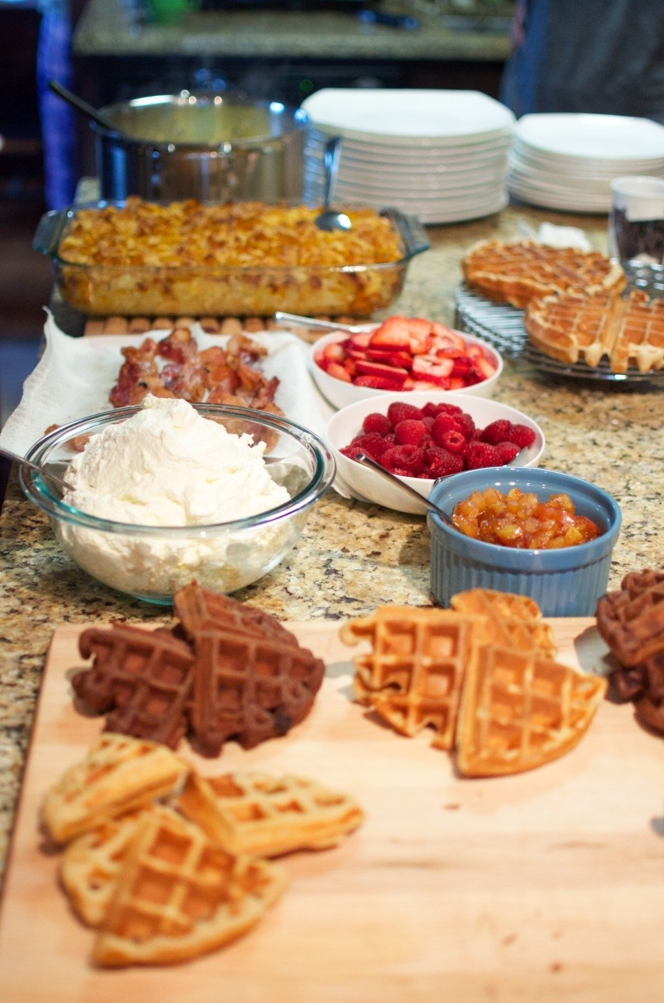 10 Lovely Grown Up Slumber Party Ideas morning brunch waffle bar grown up slumber party a couple of 2020