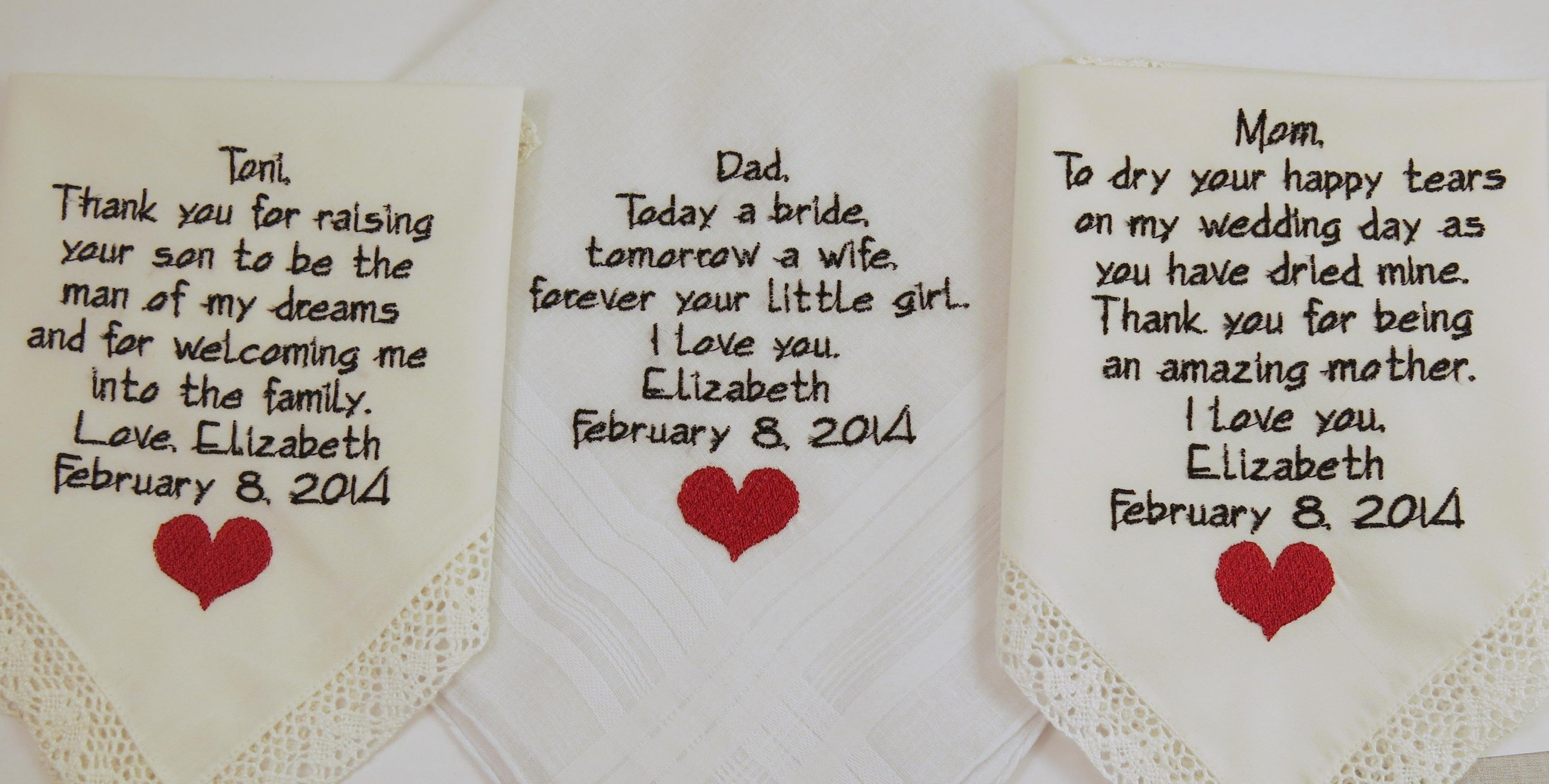 10 Beautiful Gift Ideas For Mother In Law mother father embroidered wedding hankerchiefs gift poem heart gift 2 2020