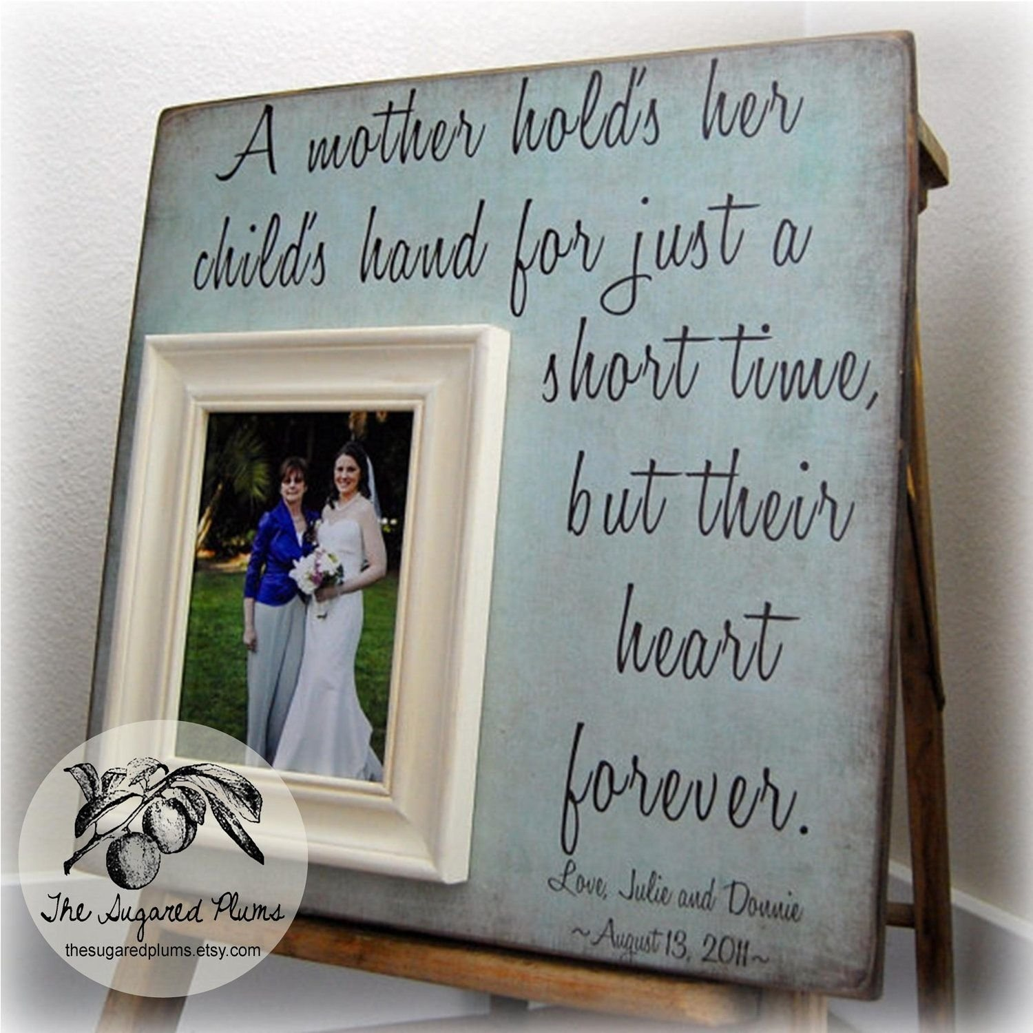 mother of the bride gift, personalized picture frame, a mother holds