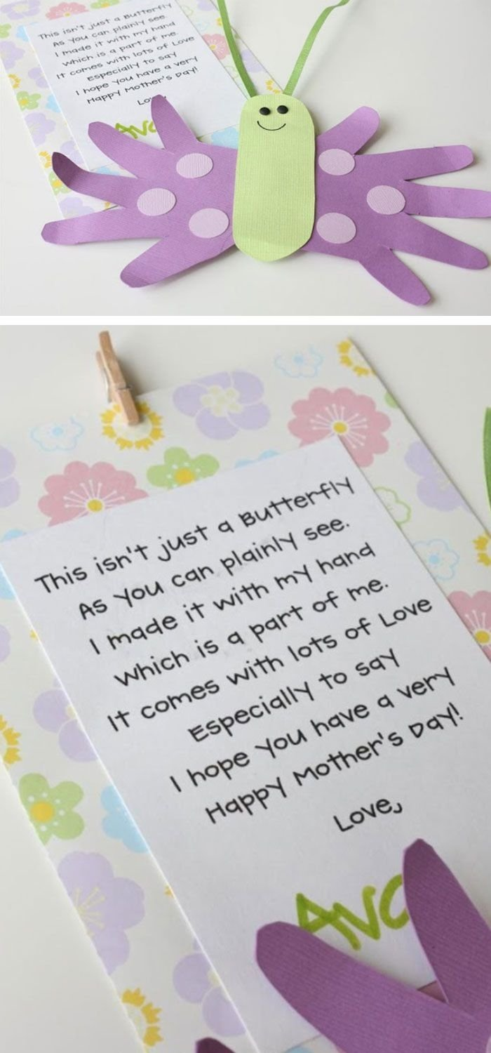 10 Cute Mothers Day Craft Ideas For Kids mothers day butterfly card and poem click pic for 22 diy mothers