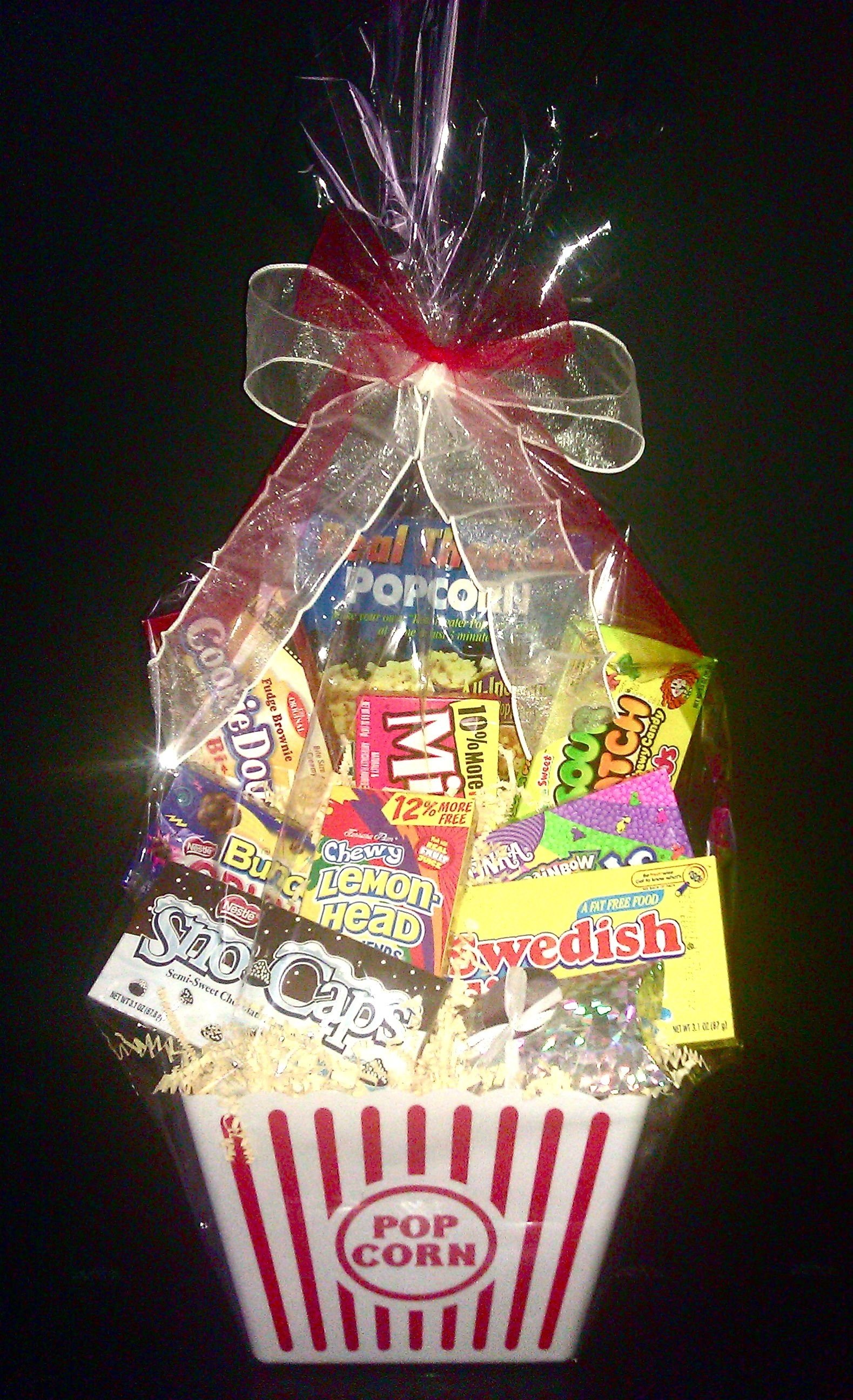10 Beautiful Gift Ideas For Movie Lovers movie lovers basket w amc gift cardwrapped a la mode www