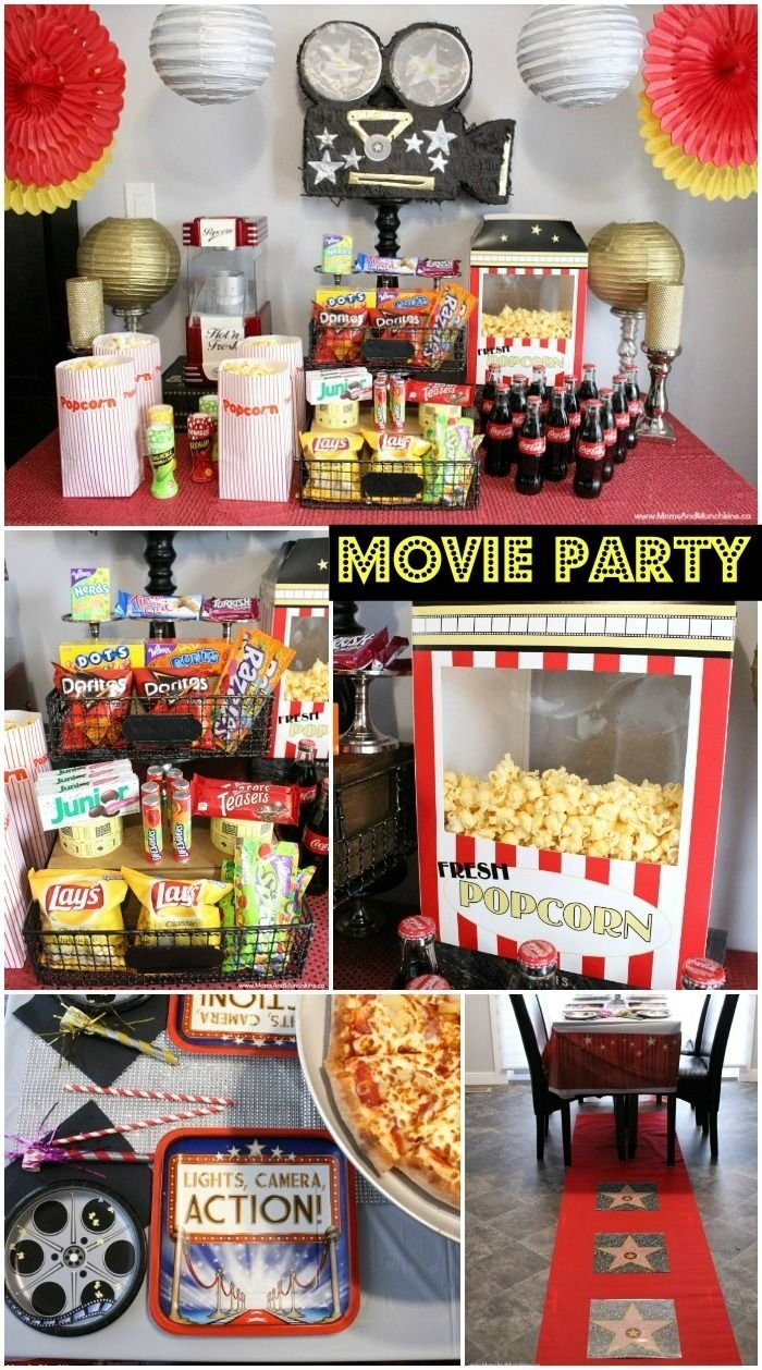 10 Most Popular Movie Night Ideas For Kids movie theme party ideas movie screen outside complete with red 2021