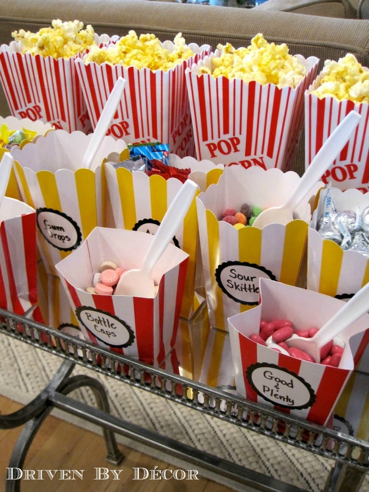 movie themed birthday party | movie theater party, white labels and