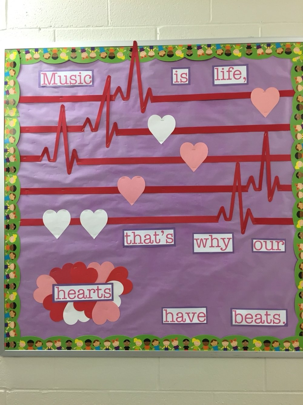 10 Pretty Valentine Bulletin Board Ideas Teachers music is life thats why our hearts have beats valentines music