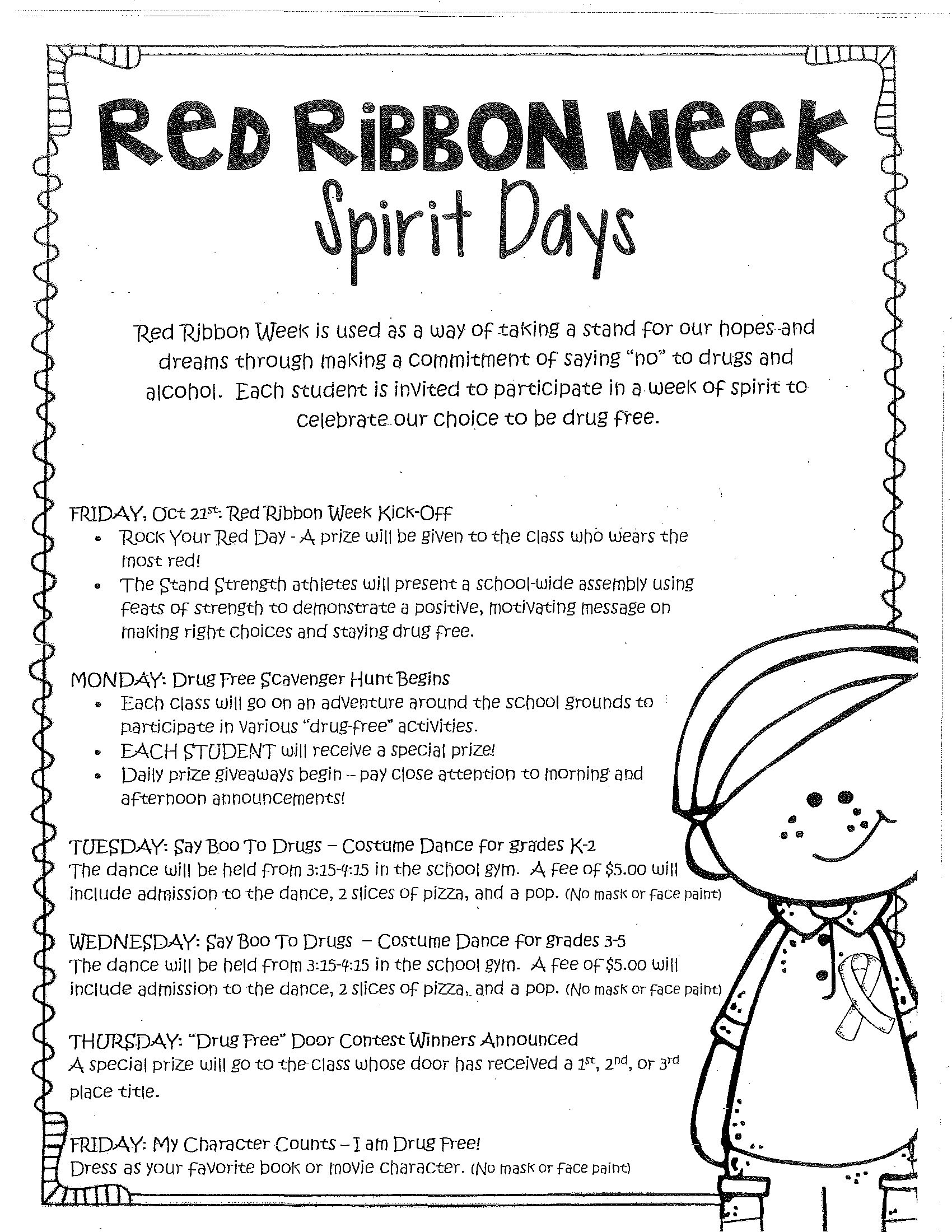 10 Most Recommended Spirit Week Ideas For Elementary School mves red ribbon week spirit days mt vernon elementary school 2020