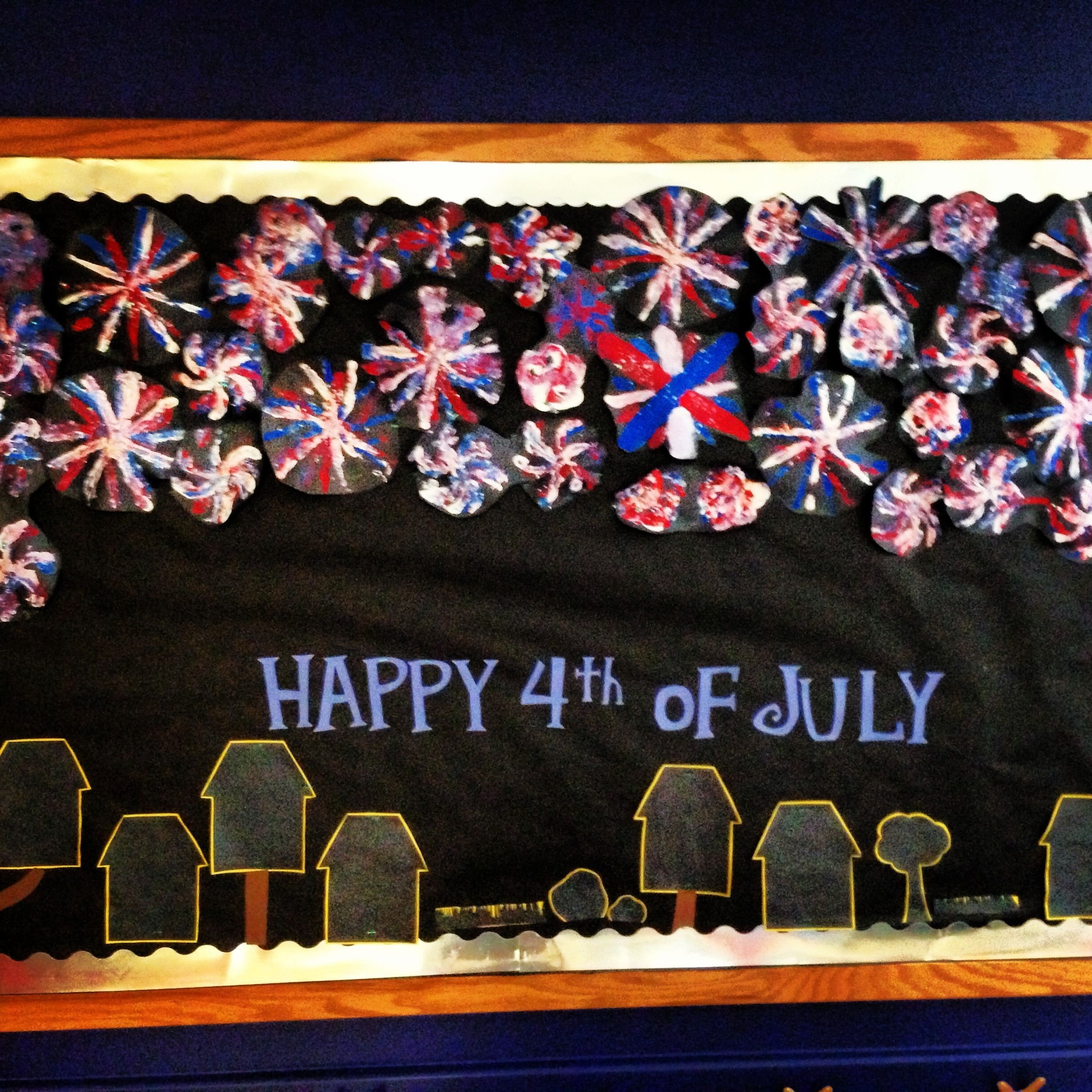 my bulletin board for my work, we made fireworks out of pipe