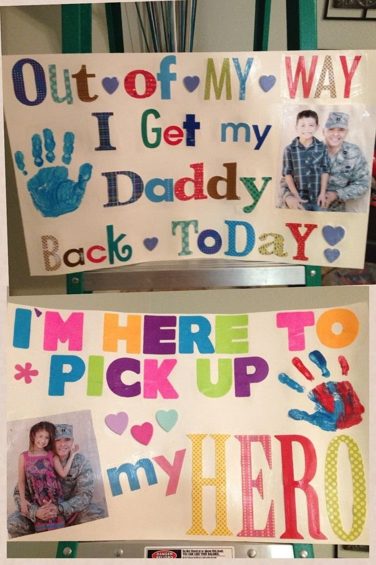 10 Unique Welcome Home Sign Ideas For Military my kids signs for daddys homecoming i topped the poster board 1 2021