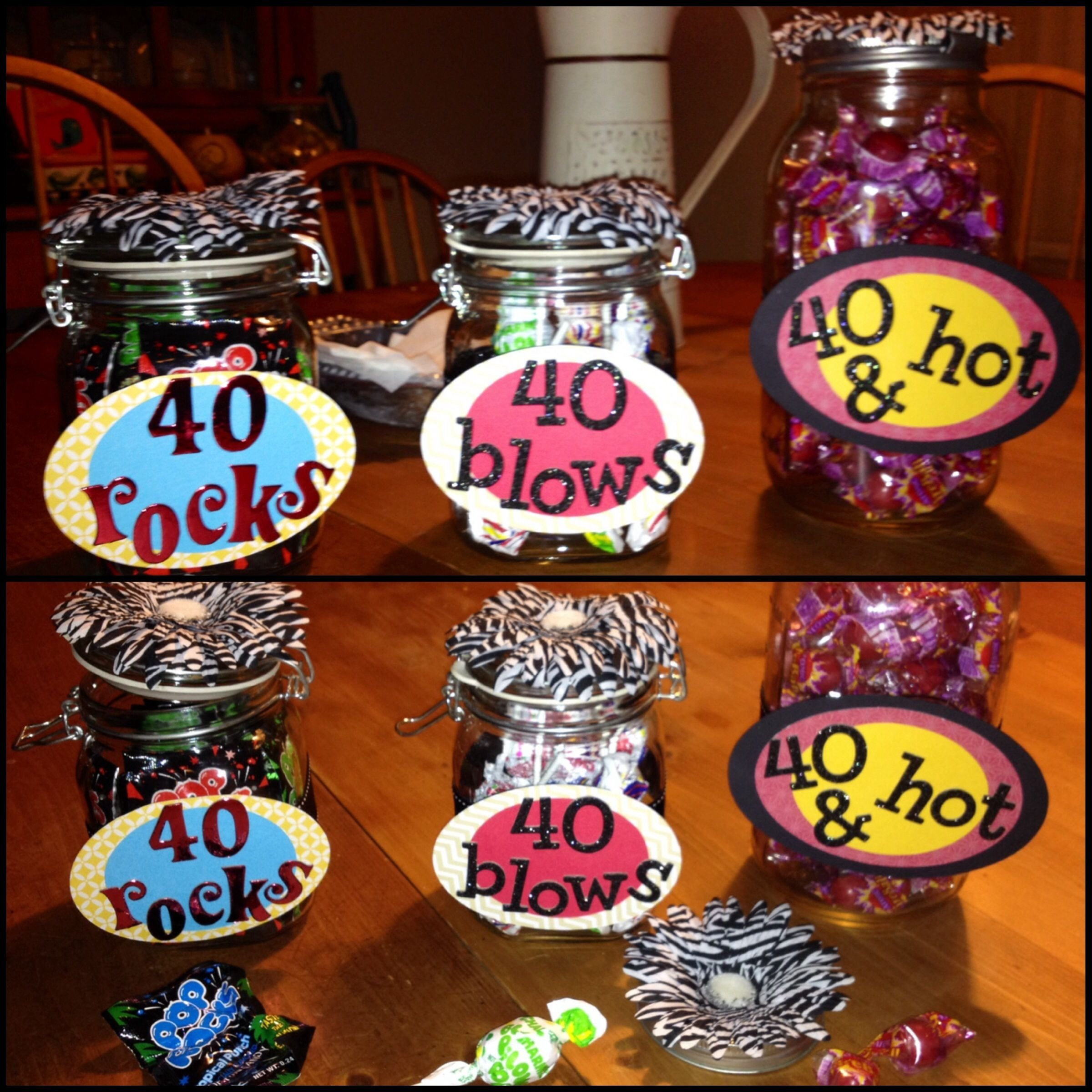 my latest 40th birthday party favors for a bff. 40 rocks---pop rocks