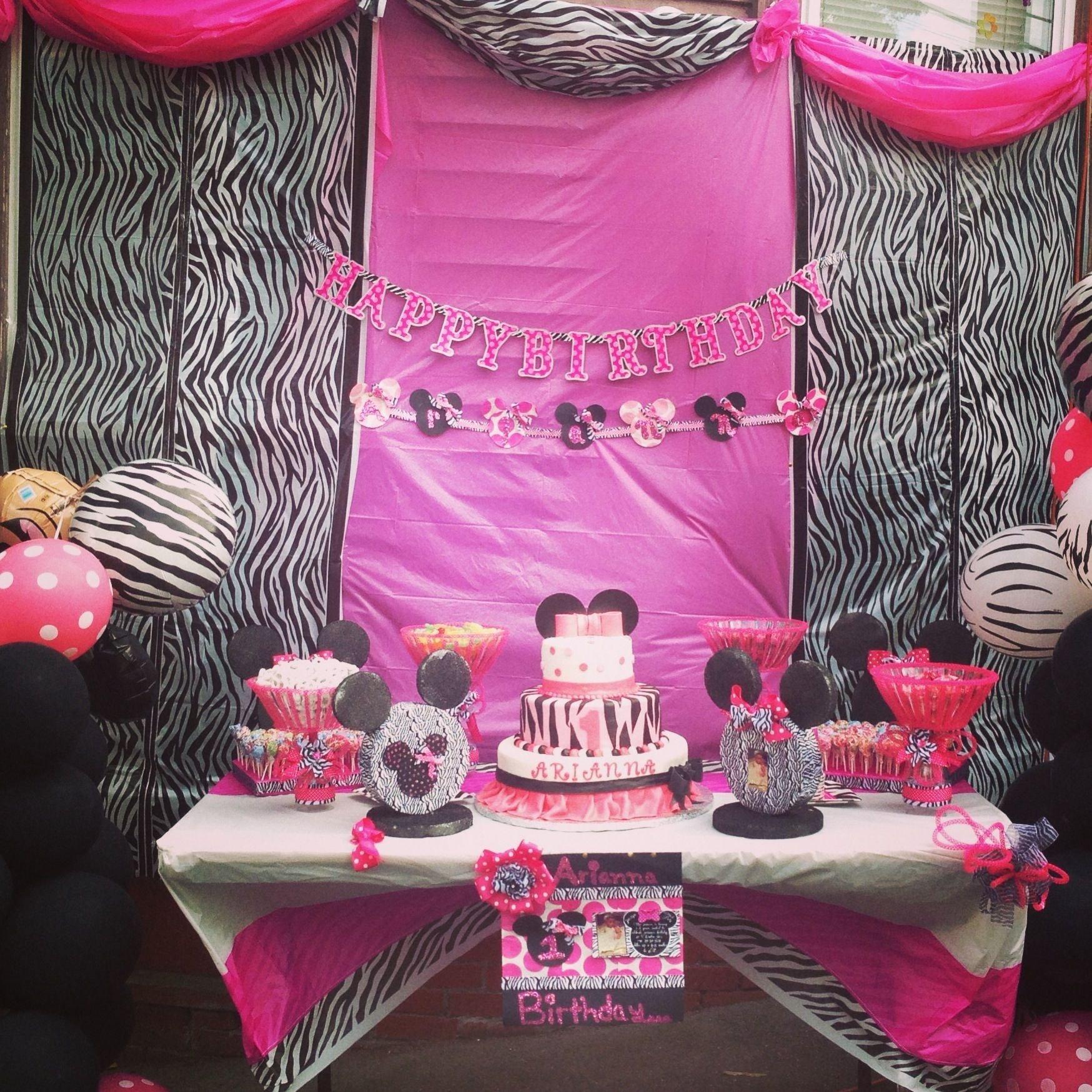 10 Spectacular Zebra Print Party Decoration Ideas my minnie mouse with zebra print party for my princess arianna 3 2021