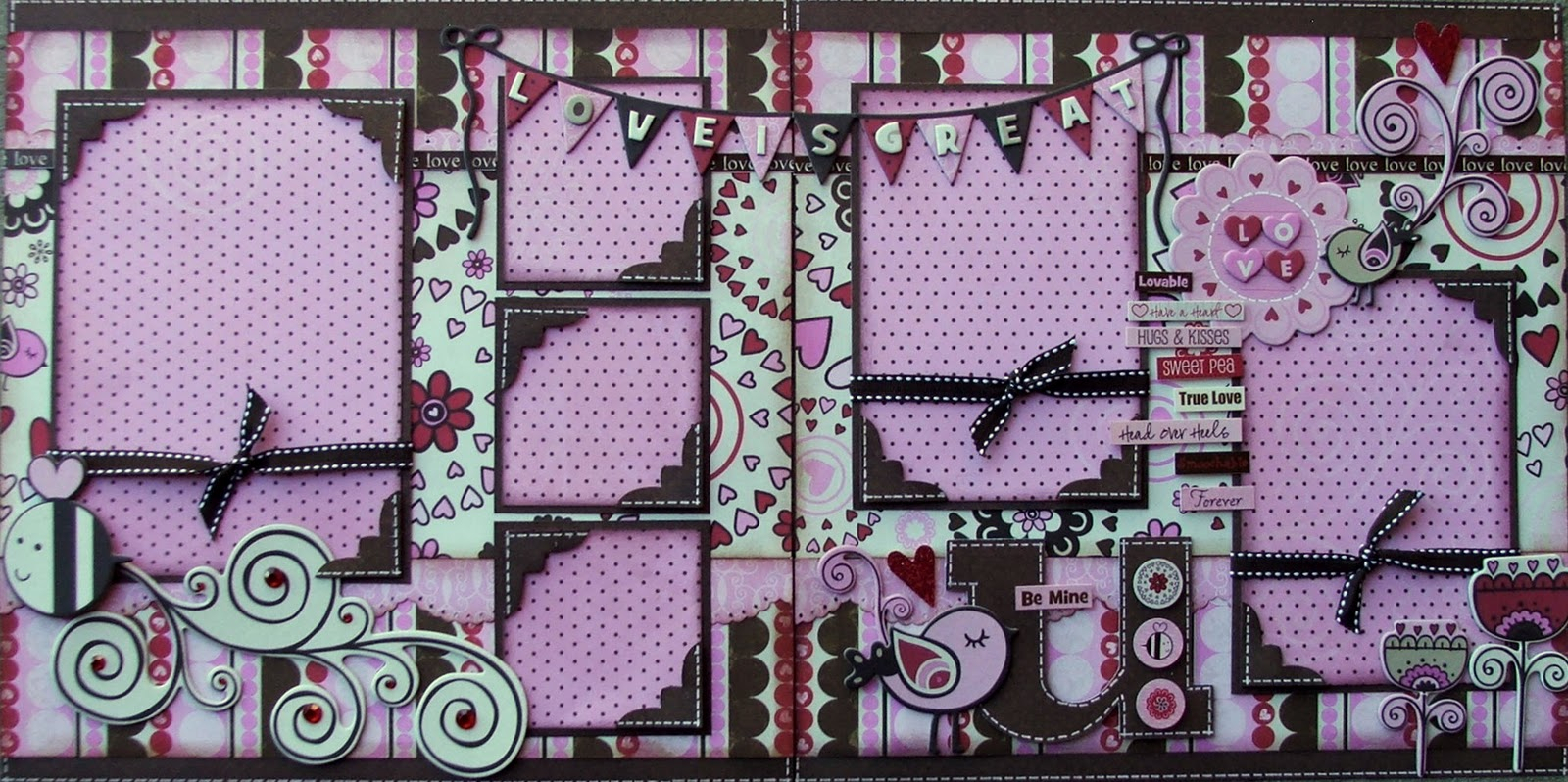 10 Fashionable 2 Page Scrapbook Layout Ideas my scrappin escape crazy love 2 page layout at the scrapbook garden 2021