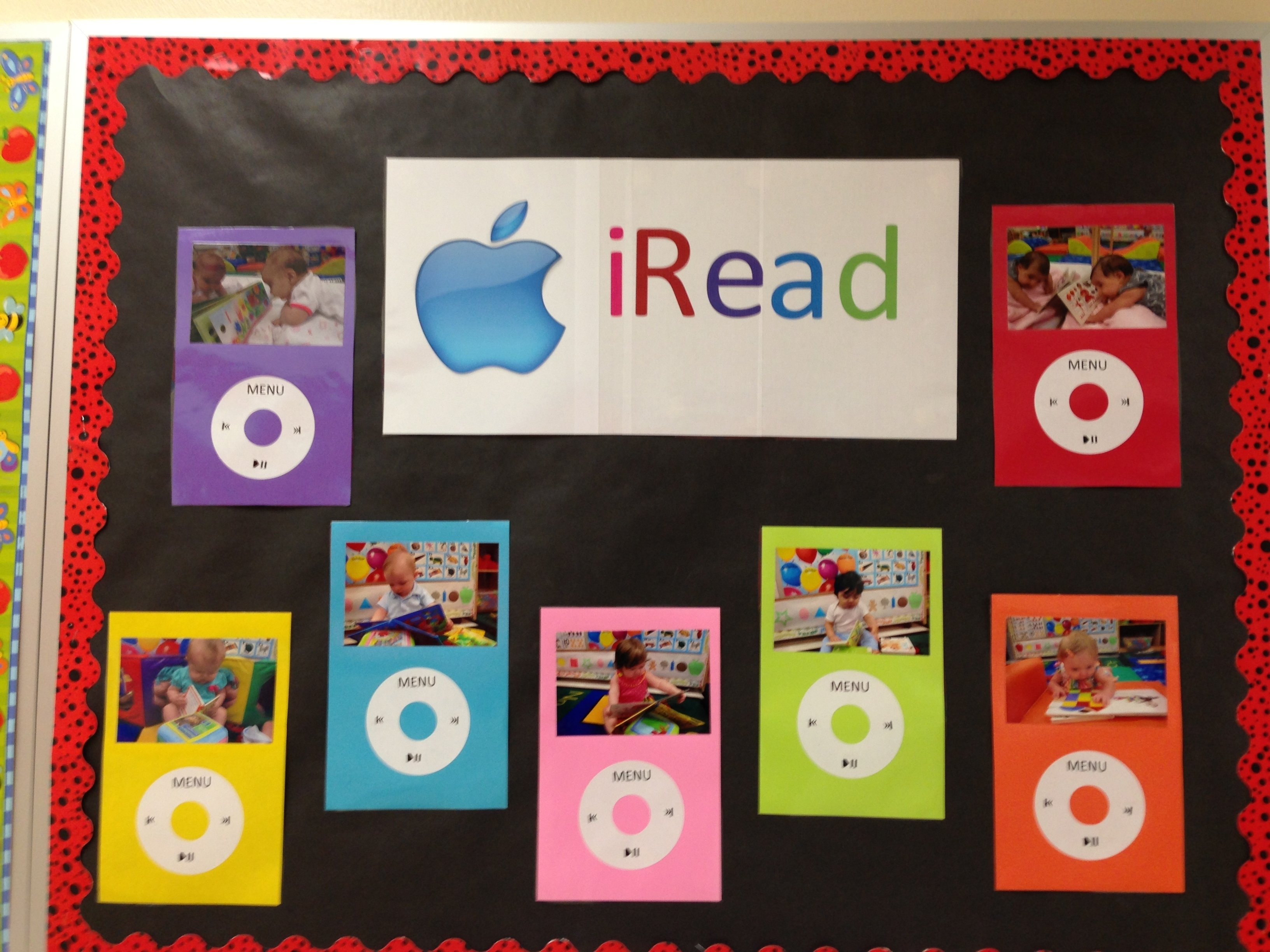my september bulletin board. i took pictures of my babies reading