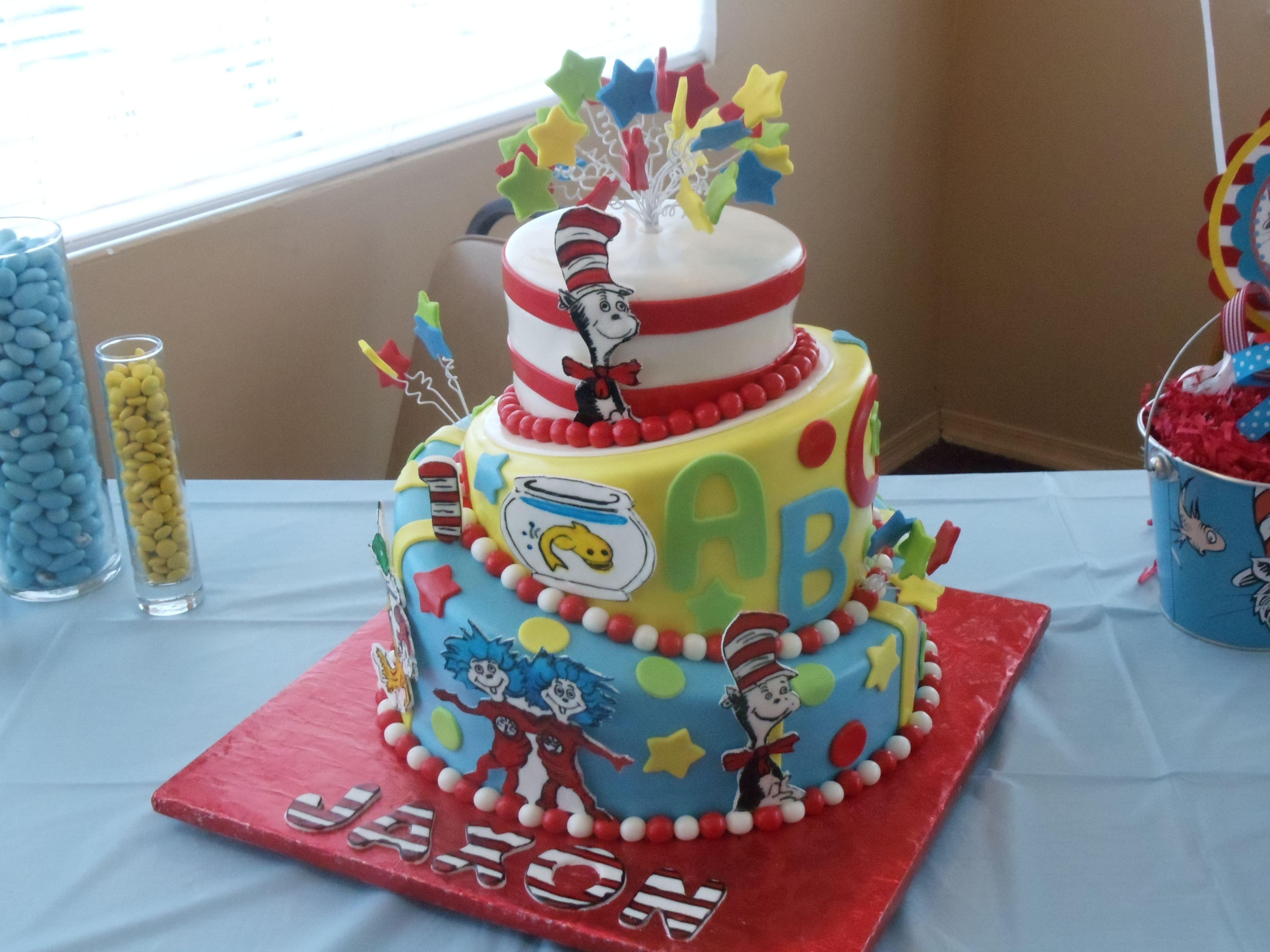 my son's first birthday cake dr. seuss | birthday party ideas