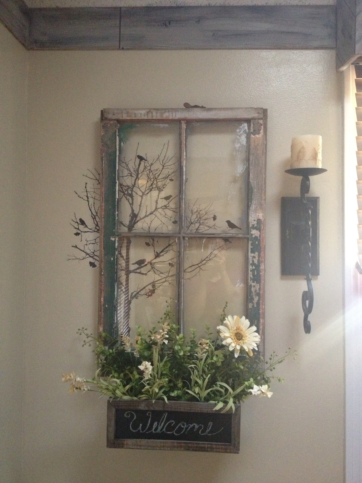 10 Famous Old Window Frame Decorating Ideas my vision of an old window repurposed except with a mirror instead 2021