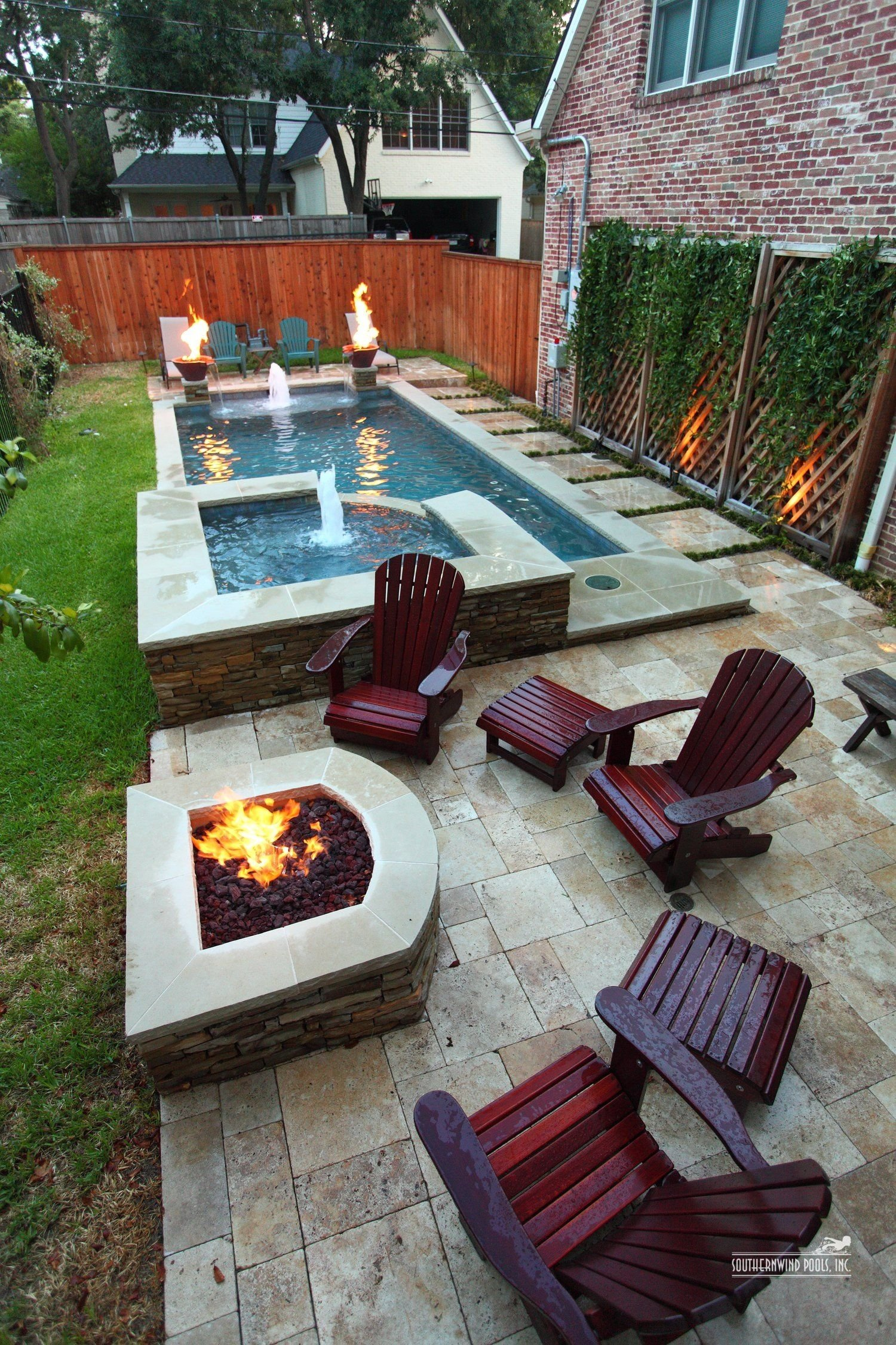 narrow pool with hot tub + firepit - great for small spaces | in my