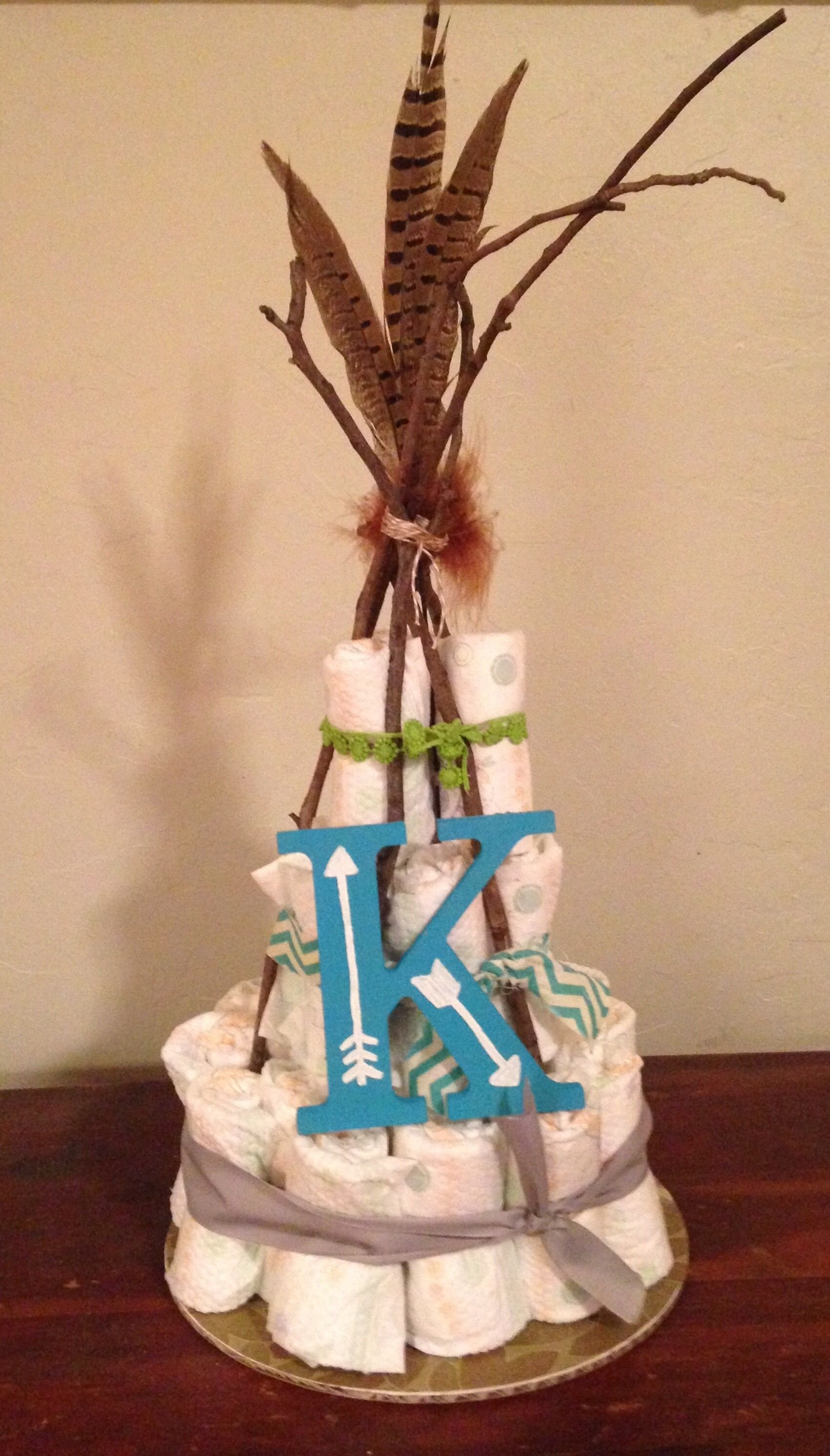 native baby shower themed diaper cake. make your diaper cake a