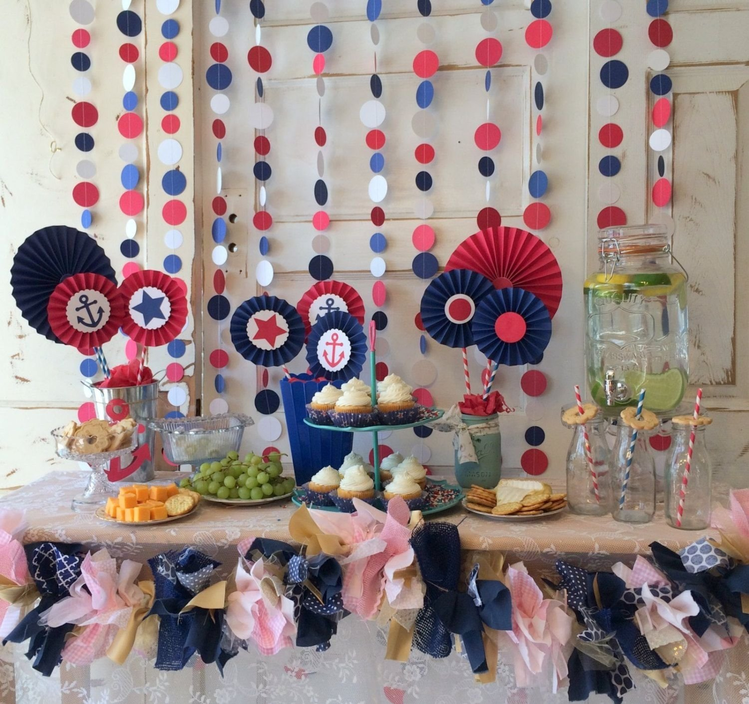 10 Beautiful Red White And Blue Party Ideas nautical baby shower decorations red white and blue party 2020