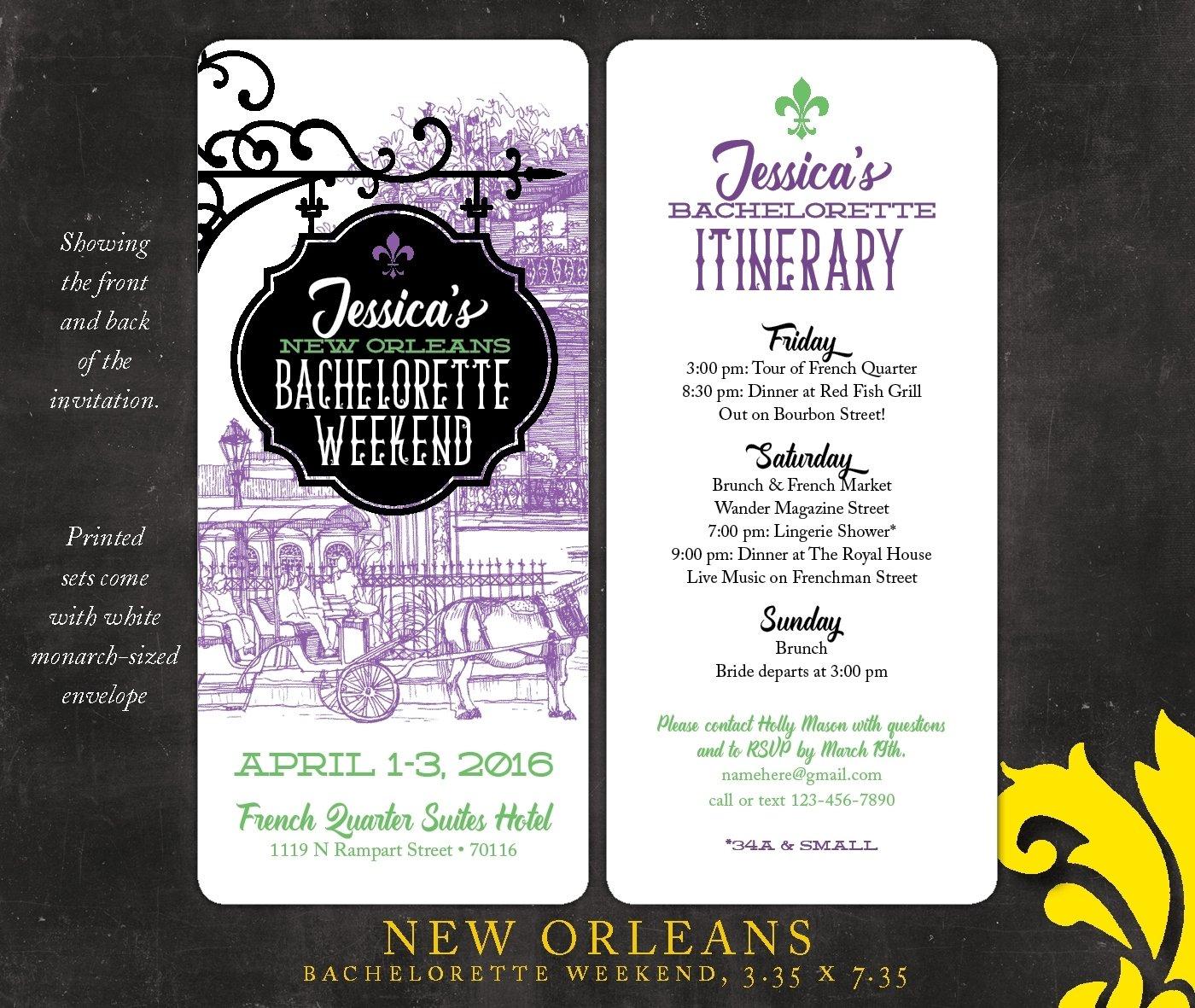 nealon design: new orleans . bachelorette weekend invitation
