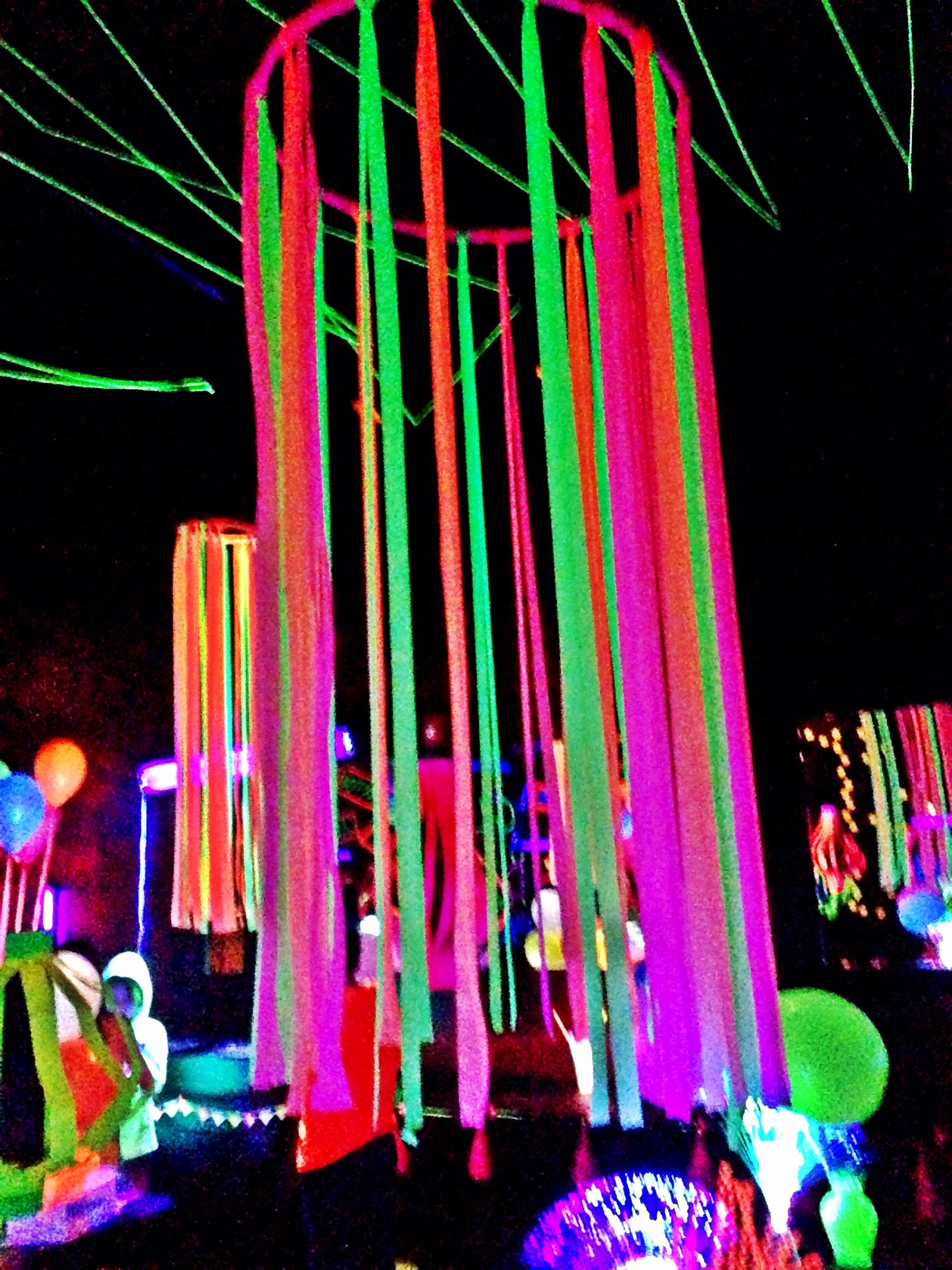 10 Elegant Glow In Dark Party Ideas neon flagging tape on hulla hoop glow party decoration fnid more 1 2020