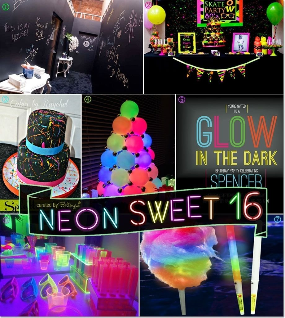 10 Stunning Ideas For A Sweet 16 neon glow in the dark sweet 16 party theme ideas simple sweet 4