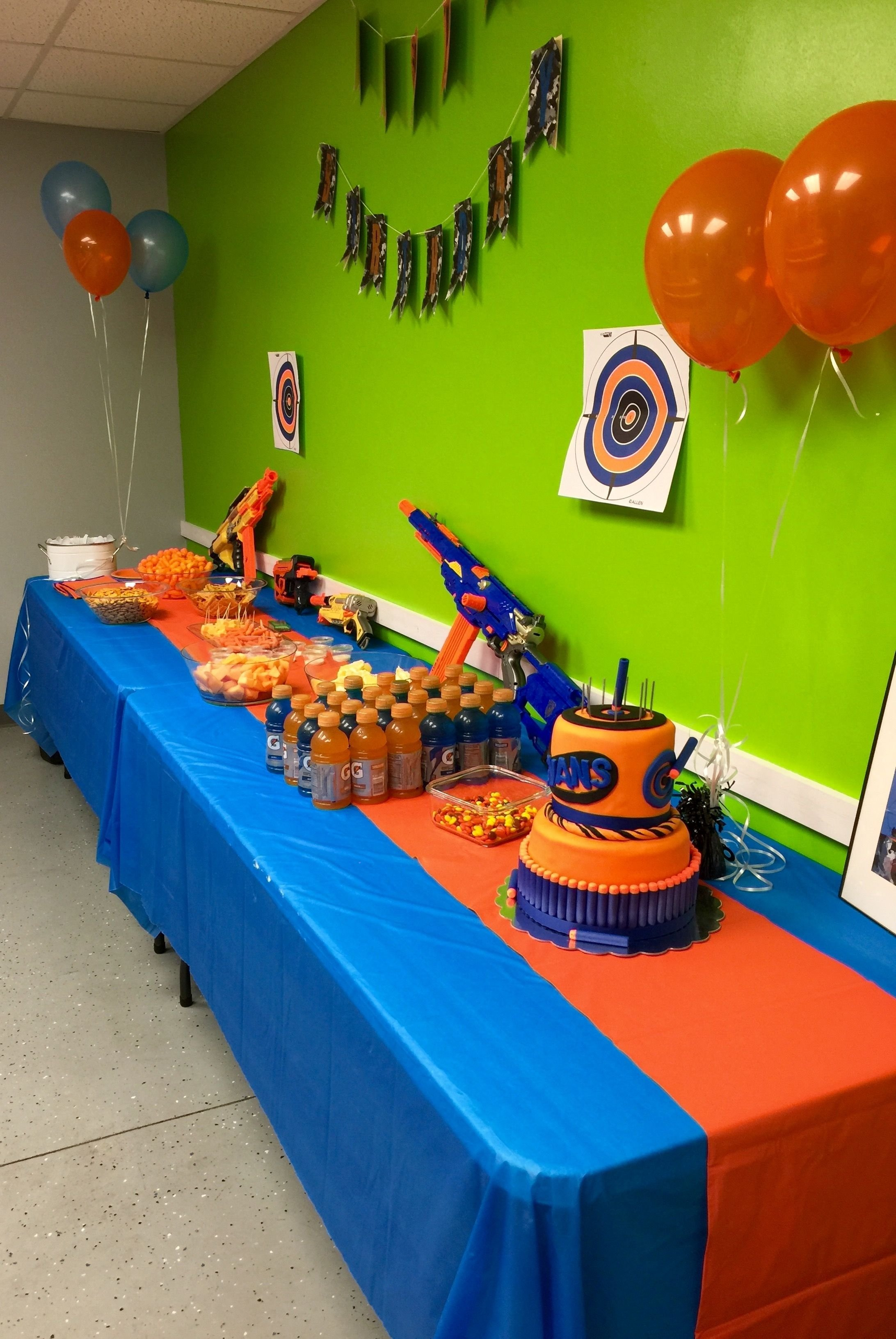 10 Most Popular Boys 8Th Birthday Party Ideas nerf party food and cake table nerf gun party pinterest nerf 2020