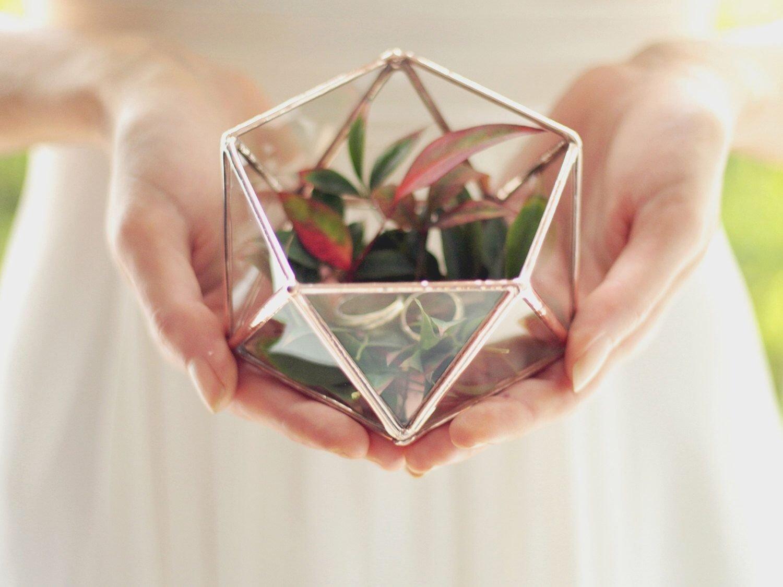10 Beautiful Ring Bearer Ideas Alternatives To Pillow new mini geometric terrarium icosahedron ring pillow 2020