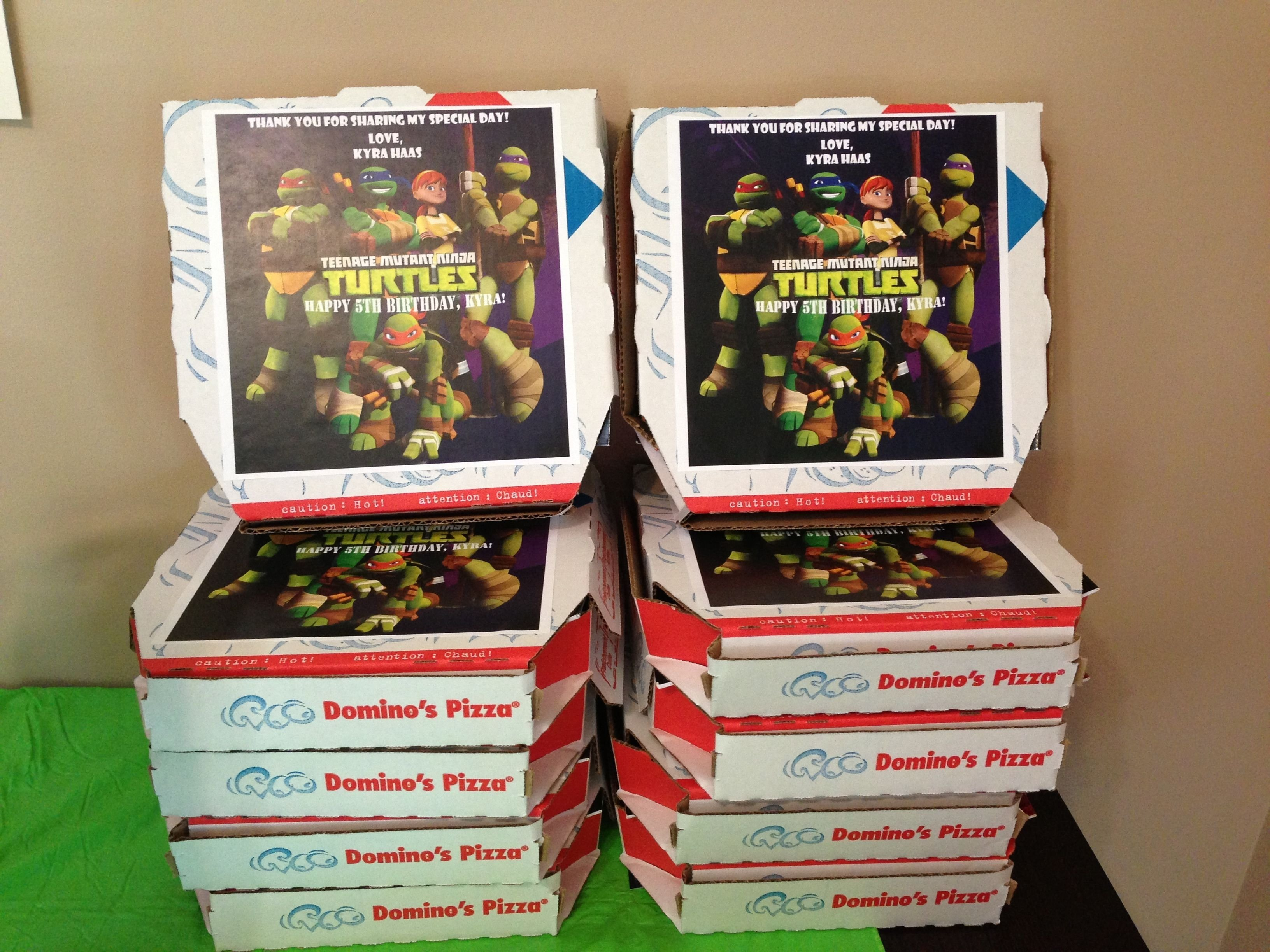ninja turtle party favors pizza boxes! easy to make and cheap