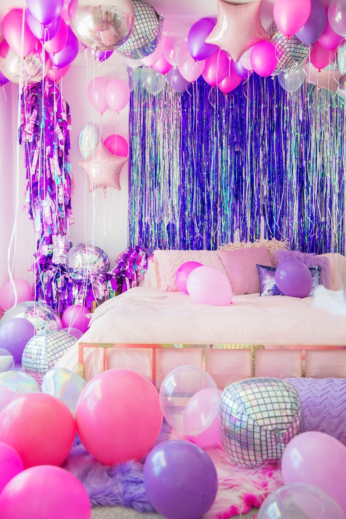 10 Fashionable Slumber Party Ideas For Girls no boys allowed a holographic neon slumber party slumber 2020