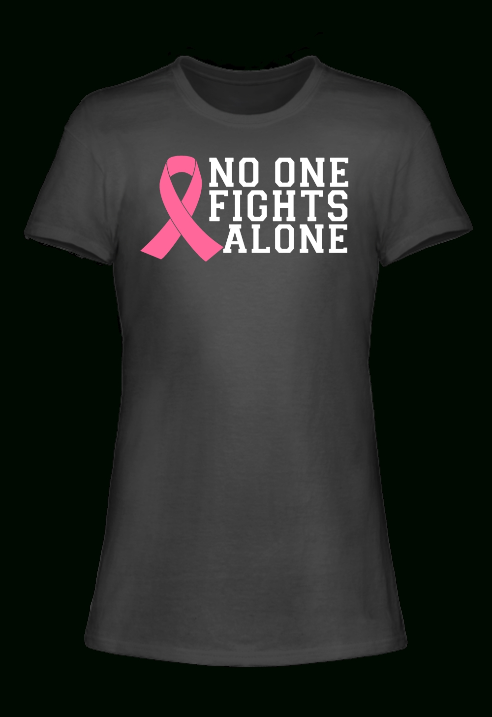 no one fights alone breast cancer awareness t-shirt | breast cancer
