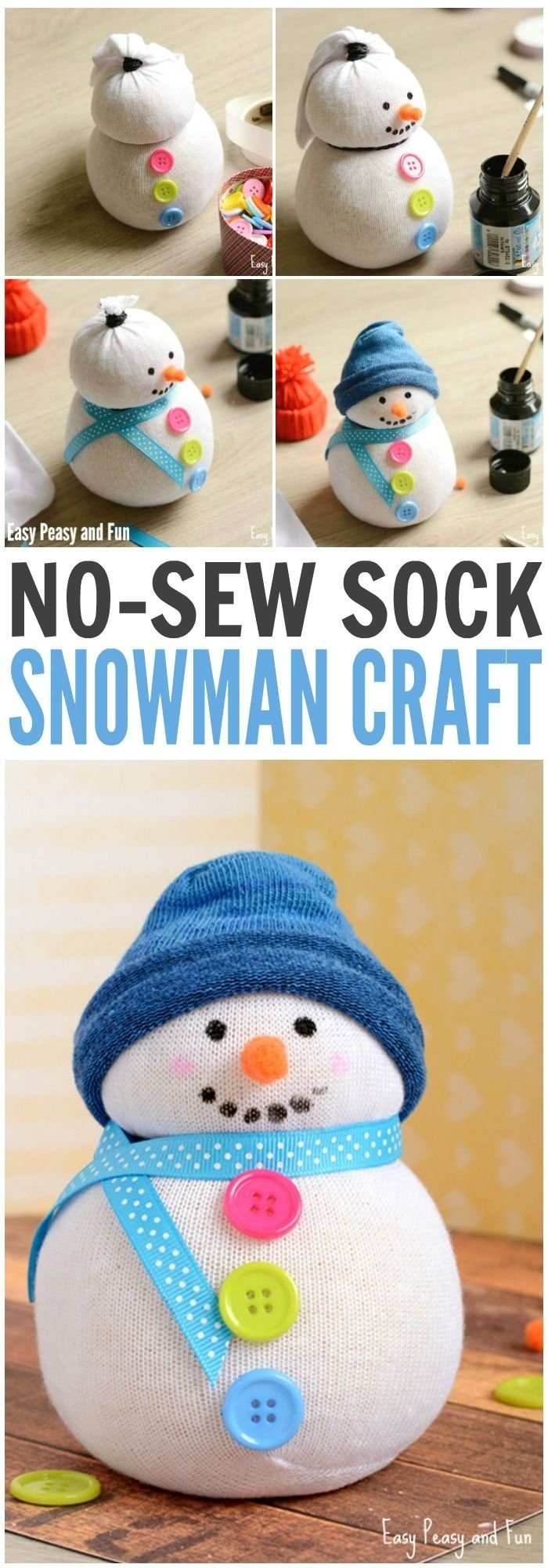 10 Most Popular Kids Christmas Craft Gift Ideas no sew sock snowman craft sock snowman snowman crafts and fun diy