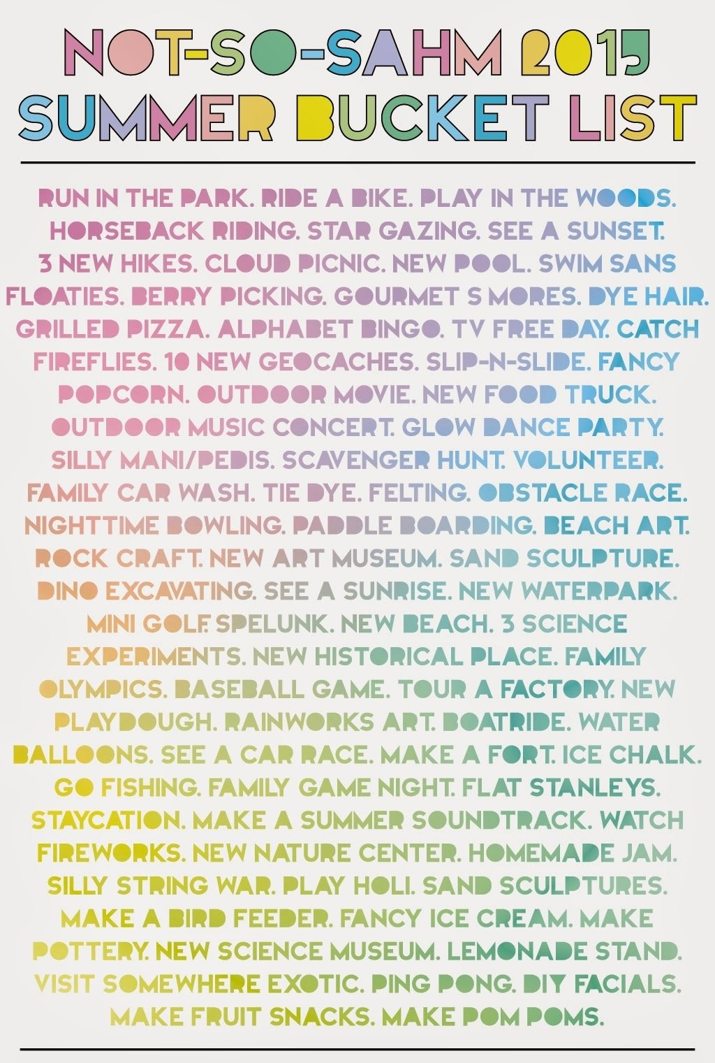 not-so-sahm: 2015 summer bucket list -- 75+ ideas of summer fun!