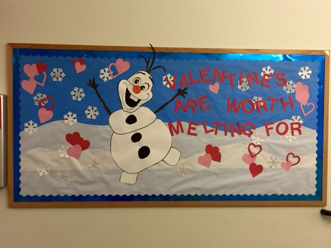 10 Cute February Bulletin Board Ideas For Preschool olaf valentines day bulletin board board not bored pinterest 1