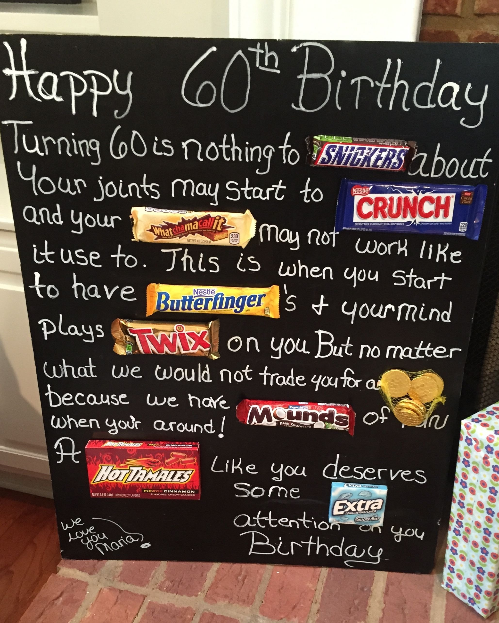 10 Attractive 60Th Birthday Present Ideas For Mom old age over the hill 60th birthday card poster using candy bars 2