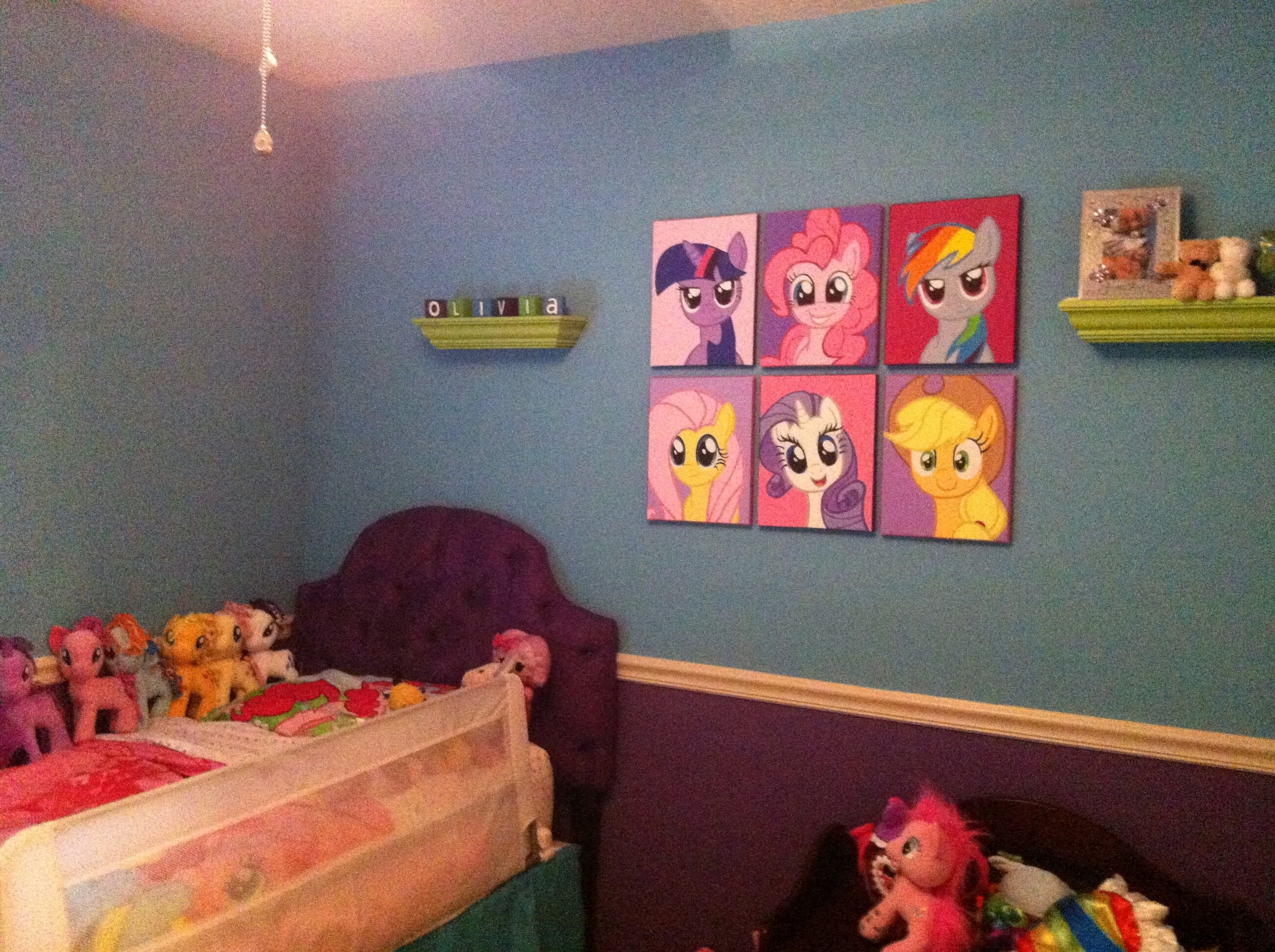 olivia's big girl my little pony room. including the ponies i