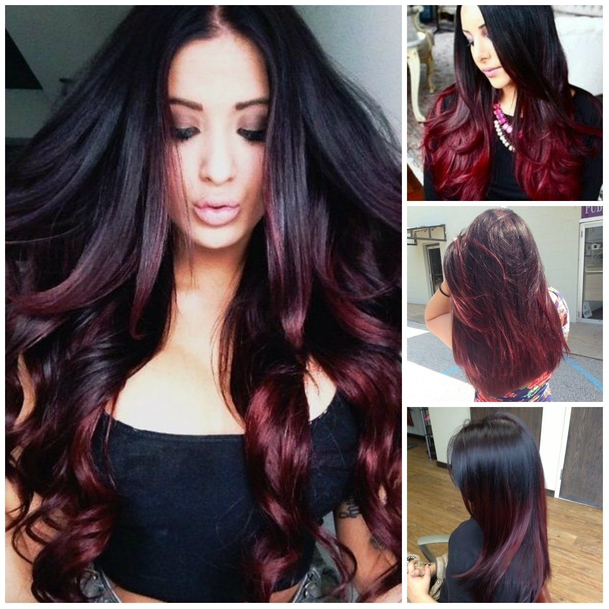 ombre hair color brunette long hair - women medium haircut