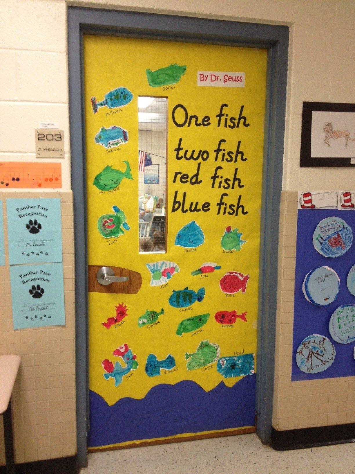 10 Best Dr. Seuss Bulletin Board Ideas For Kindergarten one fish two fish red fish blue fishdr seuss door decorations 2021