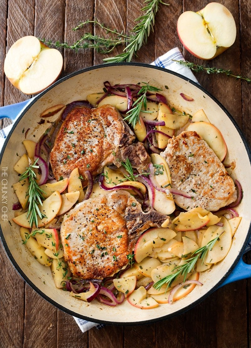 10 Unique Dinner Ideas For Pork Chops one pan pork chops with apples and onions the chunky chef 1 2020