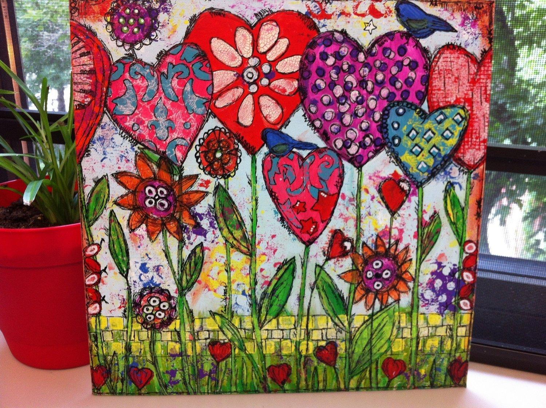 10 Lovable Mixed Media Canvas Art Ideas original mixed media on canvas painting home decor artwork folk