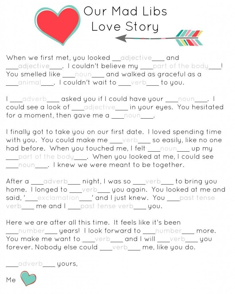 10 Ideal Ideas For A Love Story our mad libs love story free printable and laughs free