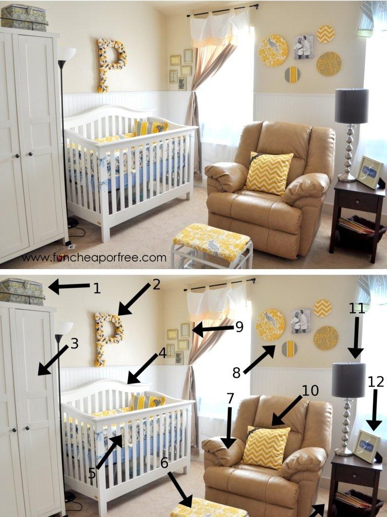 10 Trendy Nursery Ideas On A Budget our yellow gray nursery fun cheap or free 1