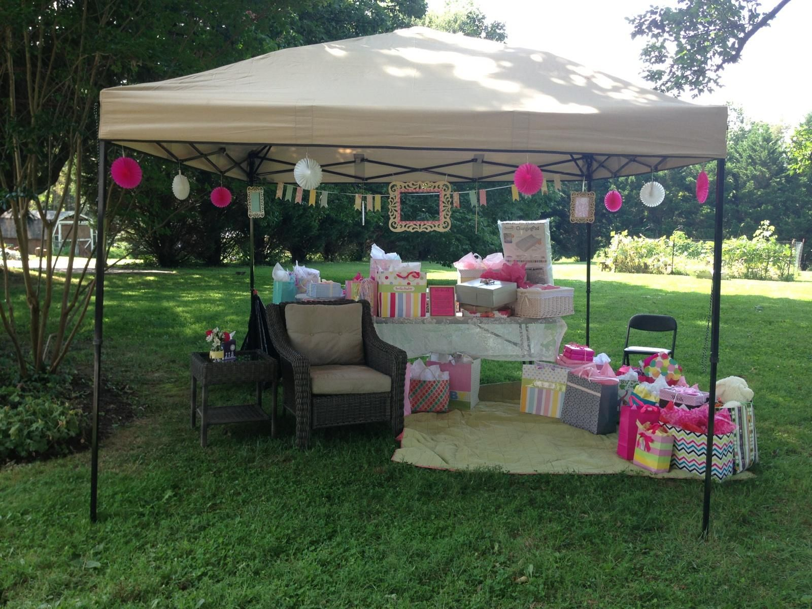 outdoor baby shower. mayve a nice new rocker under there for mommy